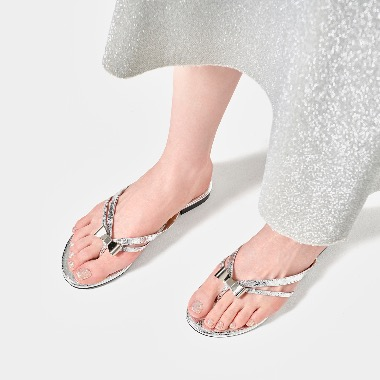 Ribbonnee Flat Sandals V2 리보니 샌들 실버